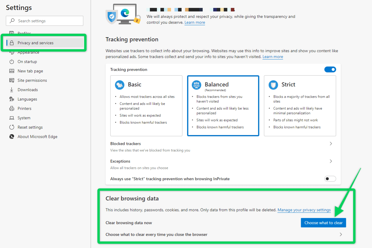 Location of clear browsing data settings on Microsoft Edge browser