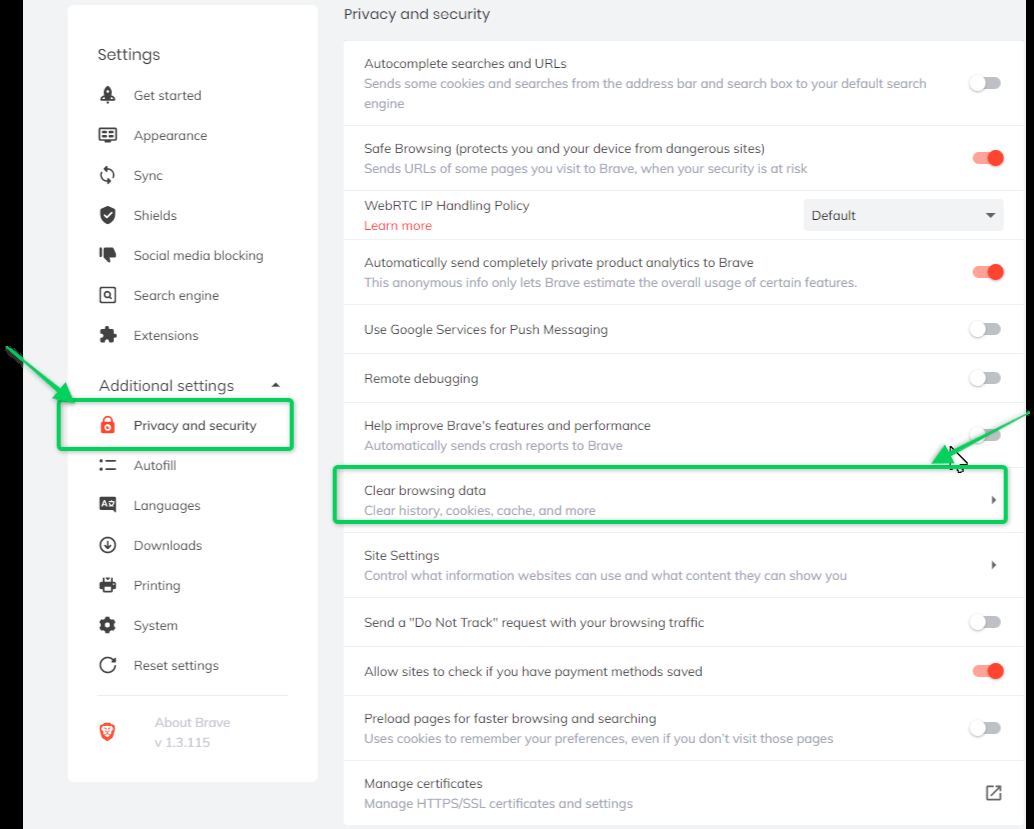 Clear cache settings on Brave browser