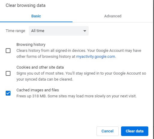 Clear data options on Google Chrome browser