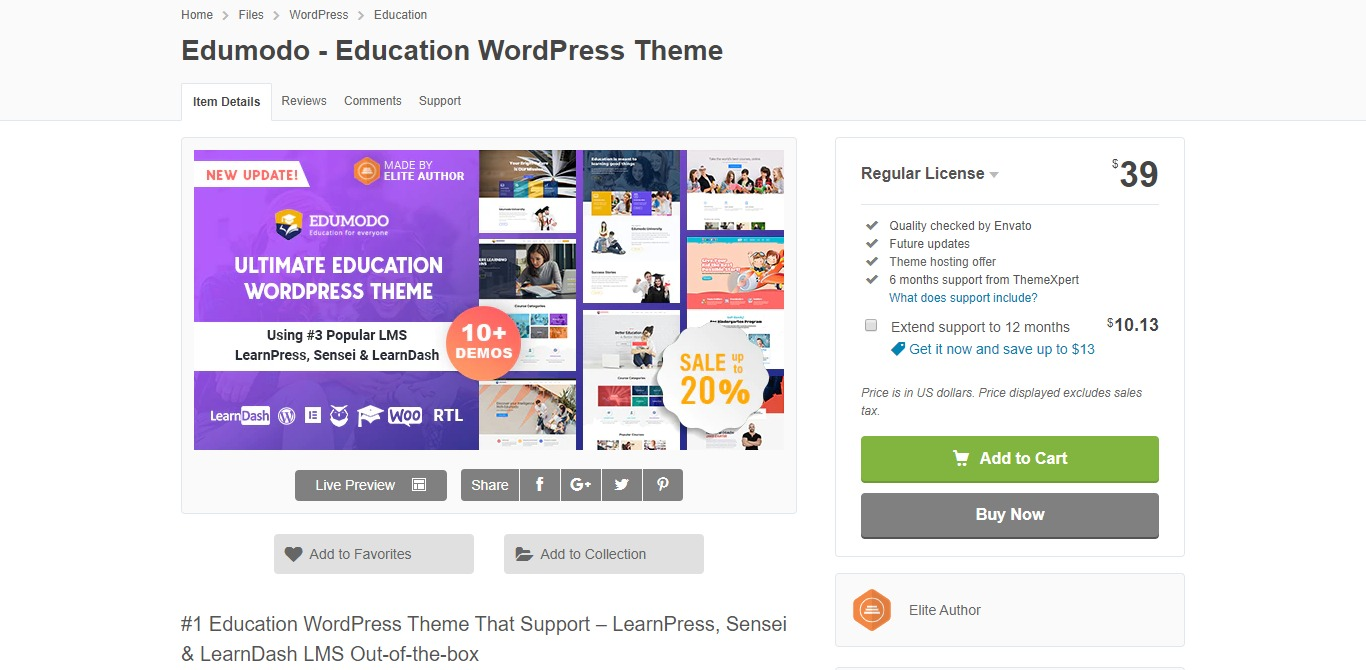 edumodo learndash wordpress theme homepage