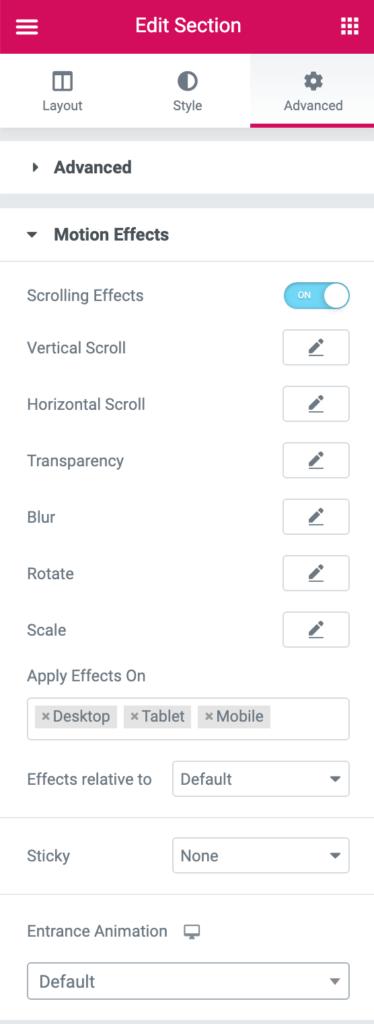 elementor edit section