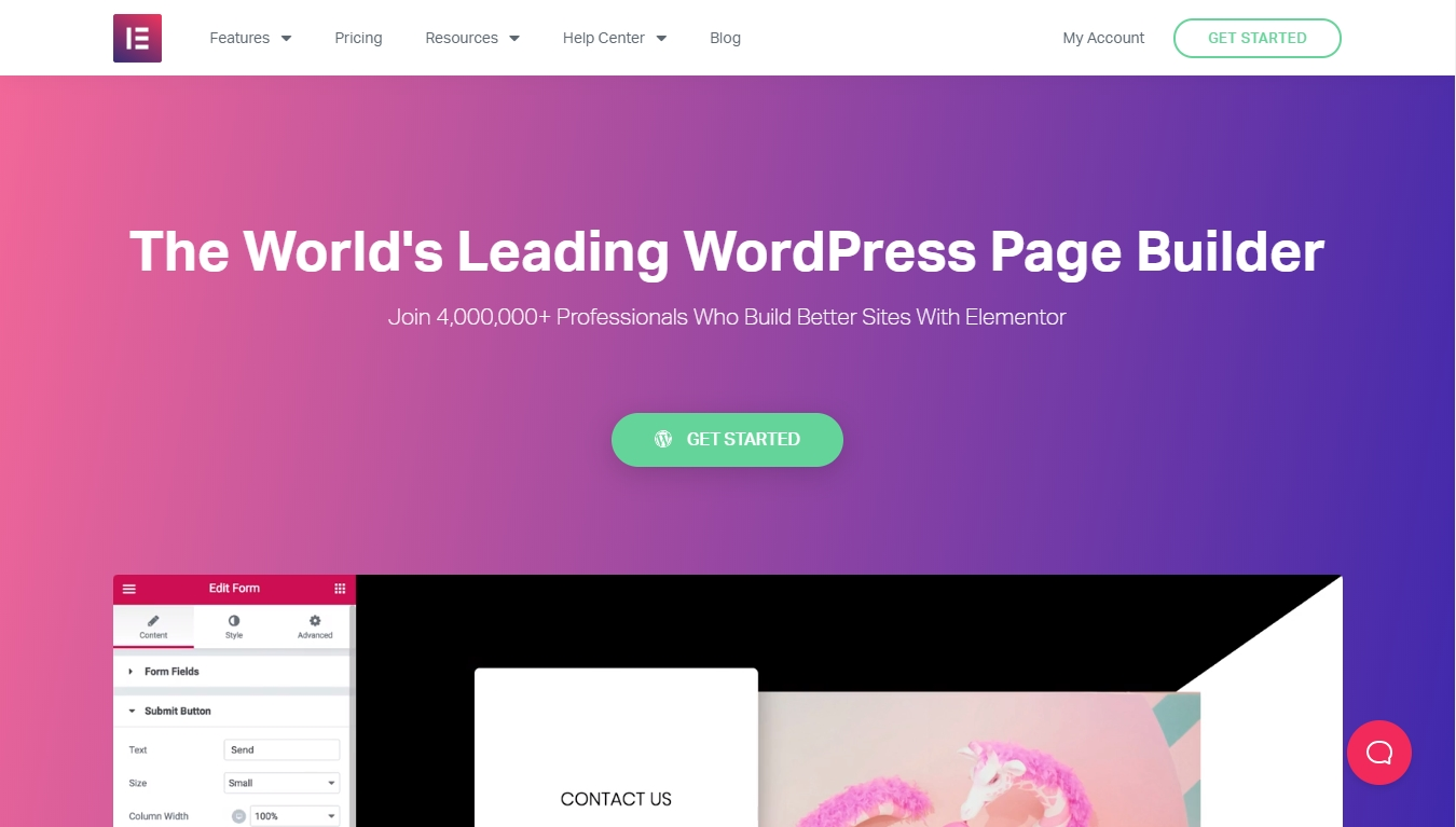 homepage for elementor the world's leading page builder
