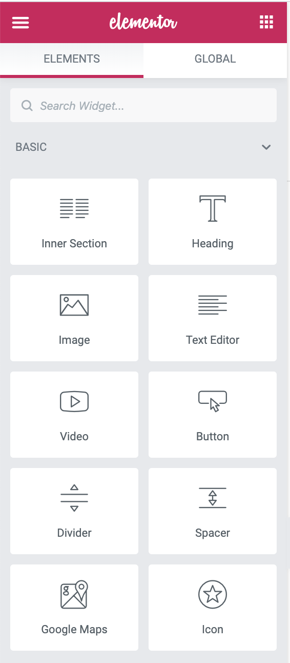 elementor widget settings