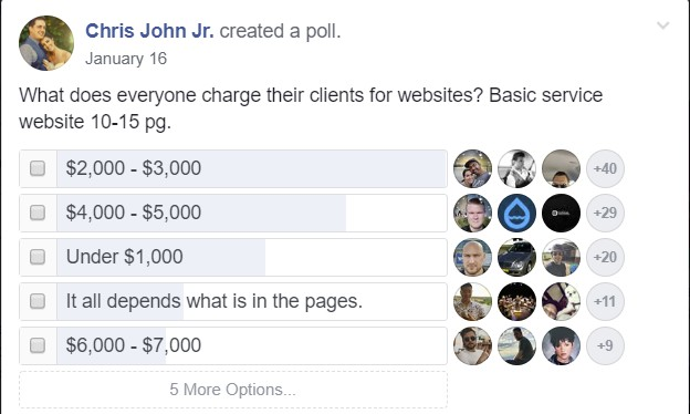 freelancer developer poll on what best price is to build a site