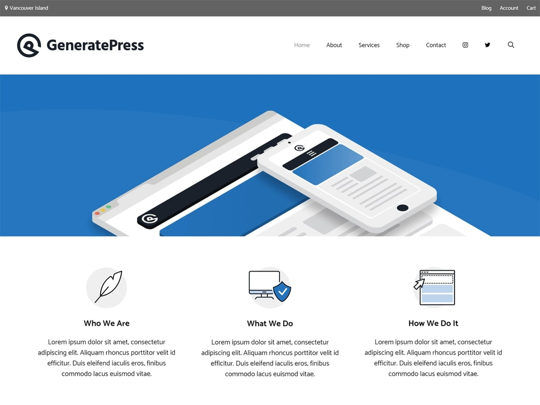 generate press theme homepage