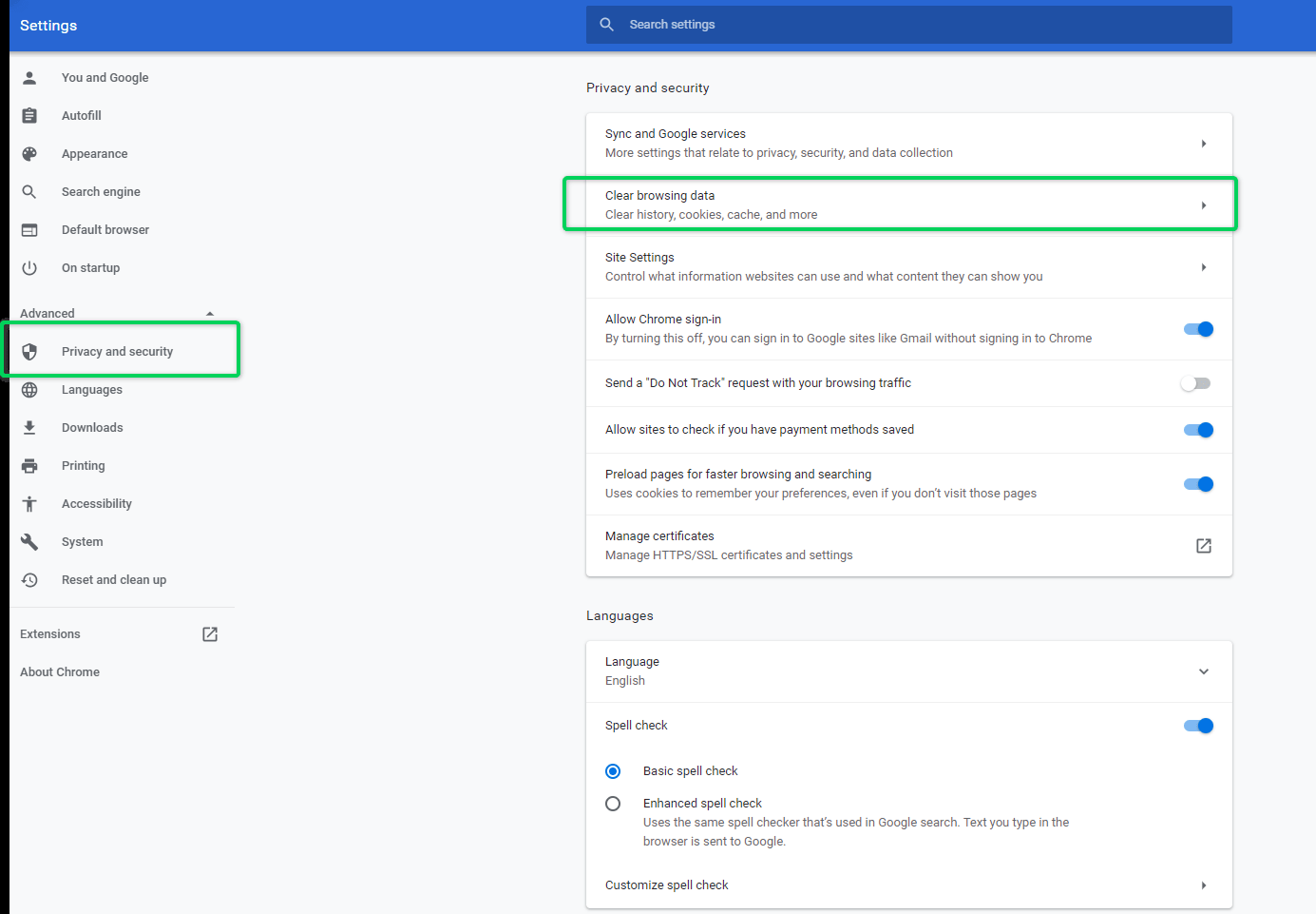 Location of clear cache settings on Google Chrome browser
