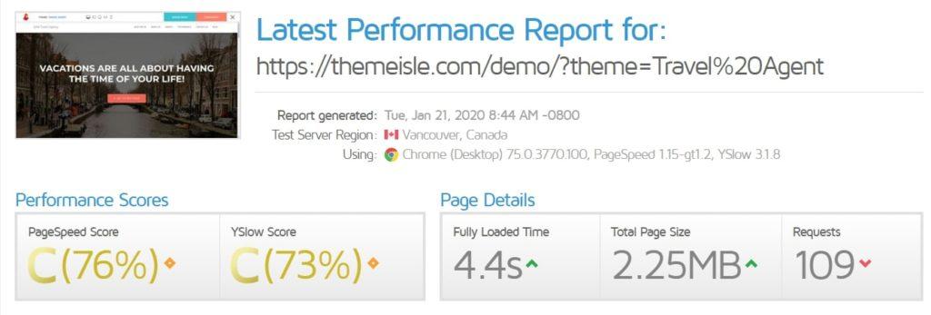 hestia theme speedtest results