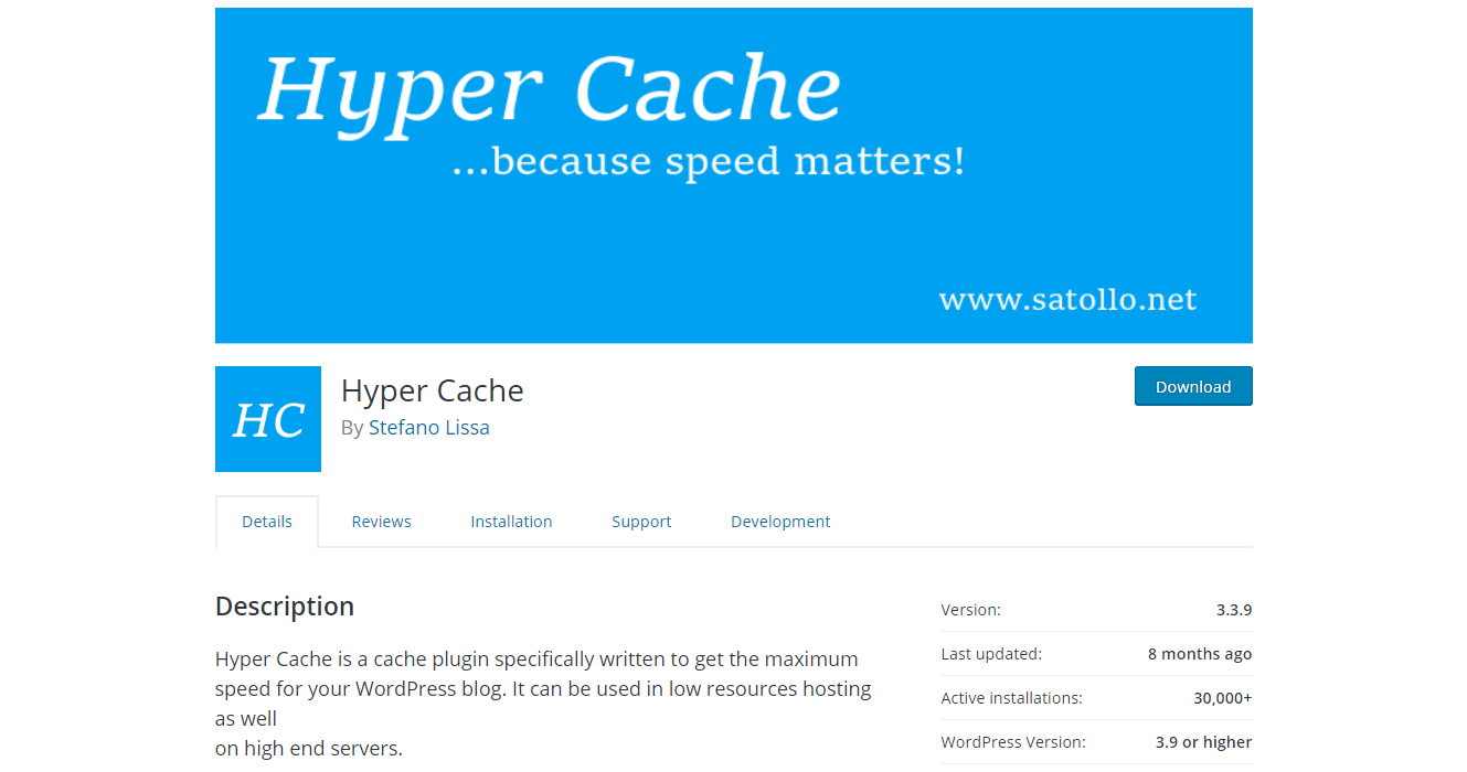 WordPress.org download page of Hyper Cache