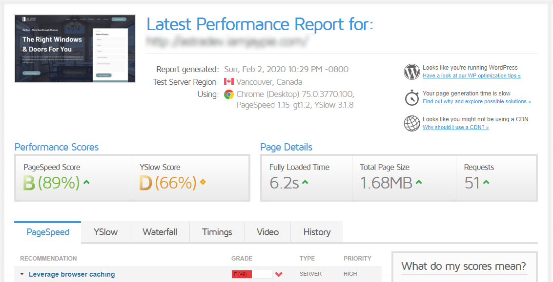 initial speedtest results without caching plugin