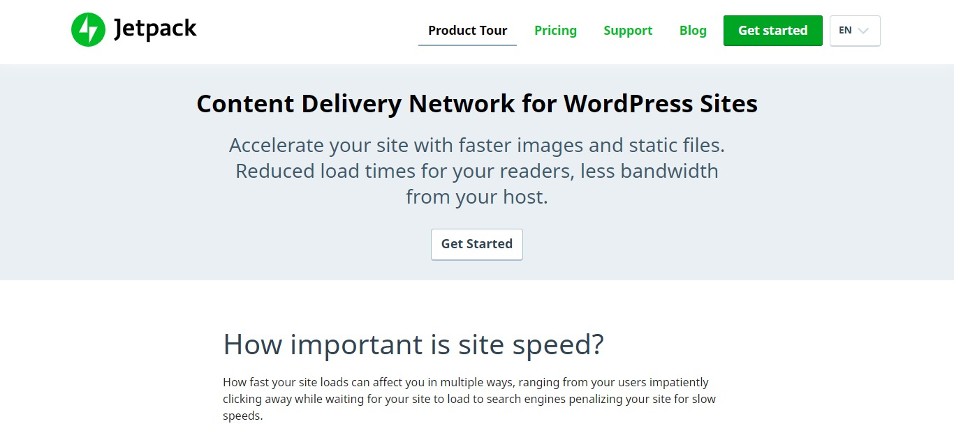 jetpack cdn homepage screenshot