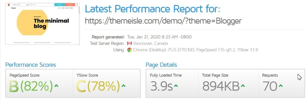 neve theme speedtest results
