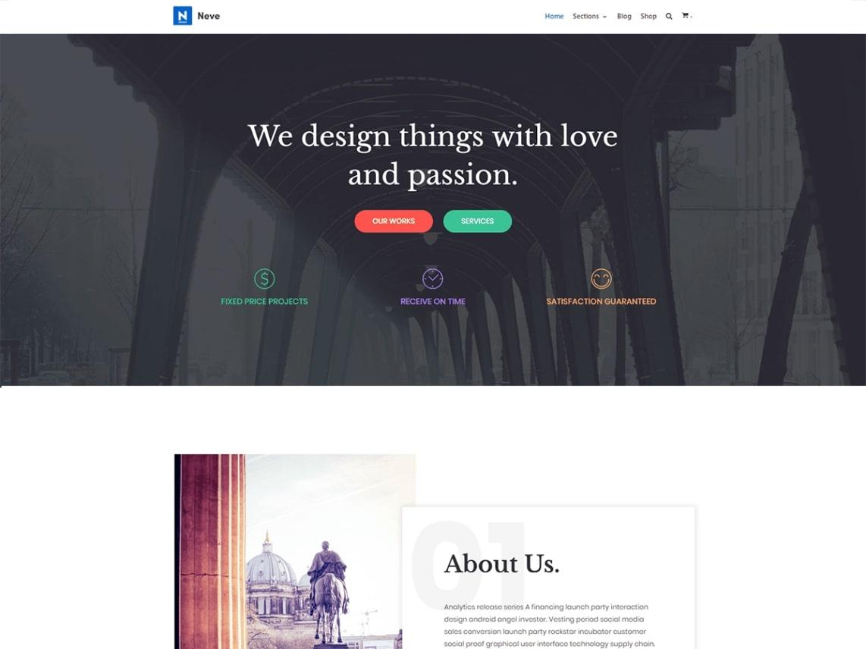 neve theme homepage