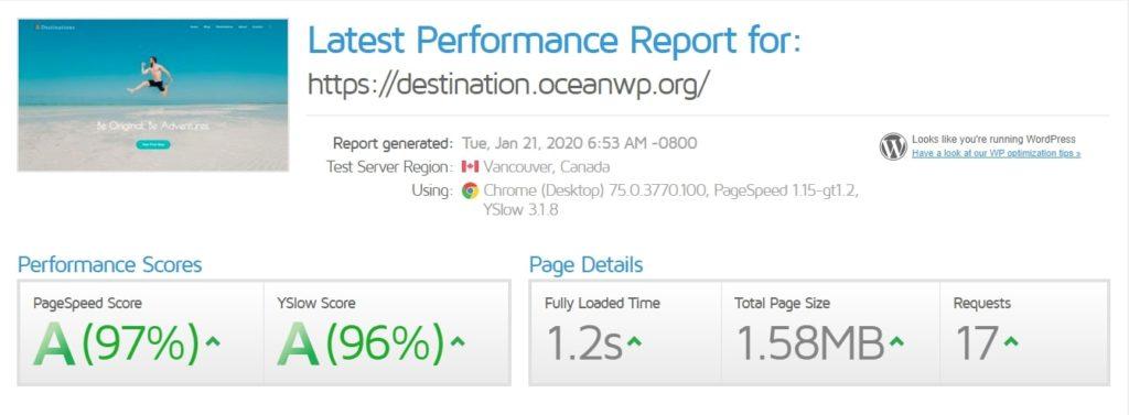 ocean wp speedtest results