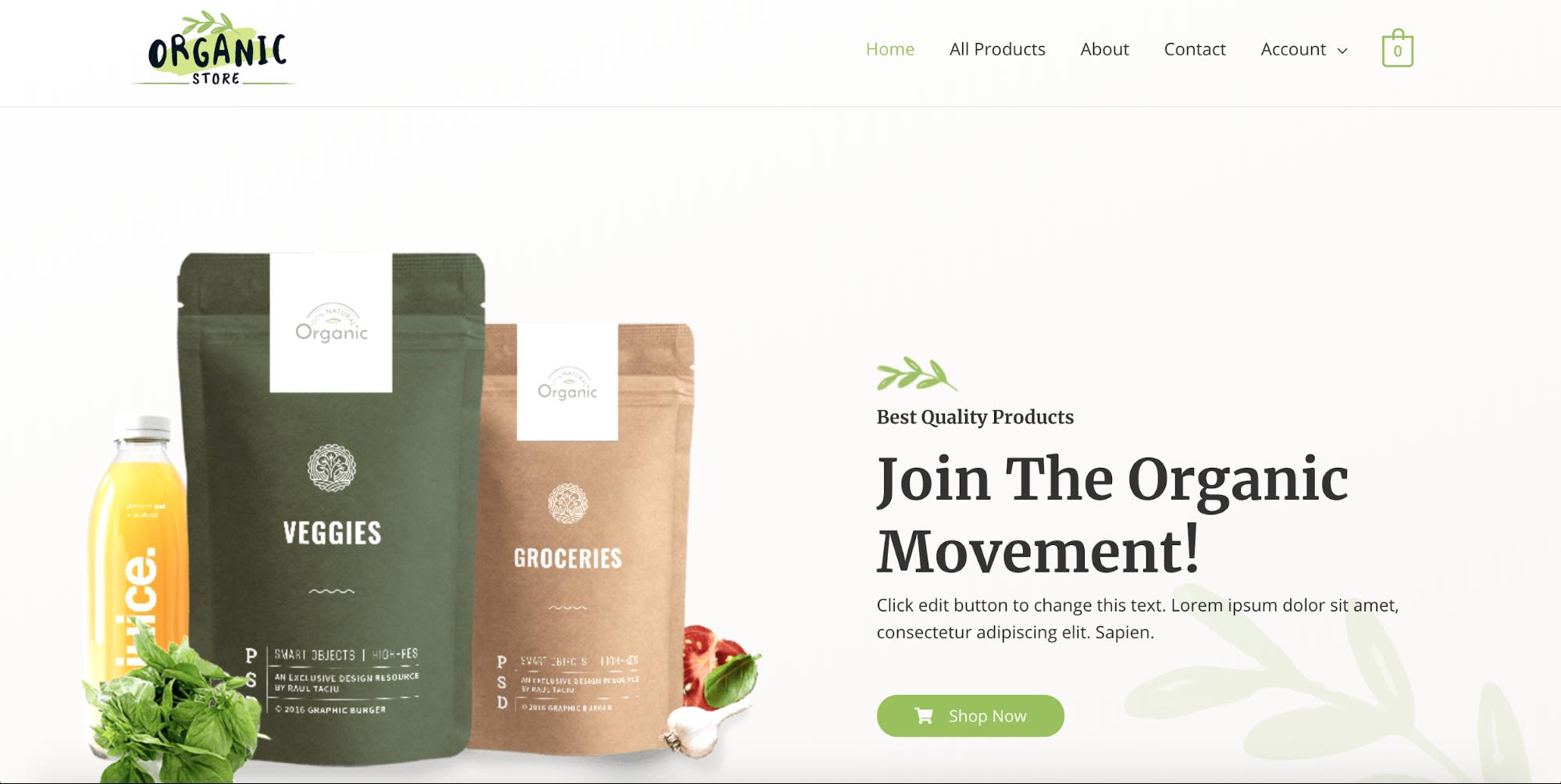 organic shop starter site