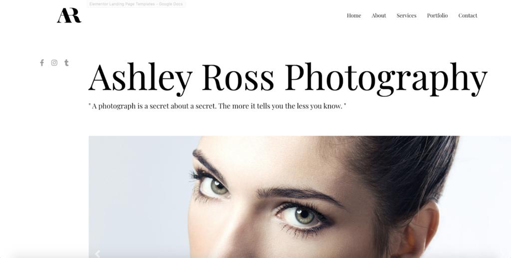 photography portfolio astra starter site