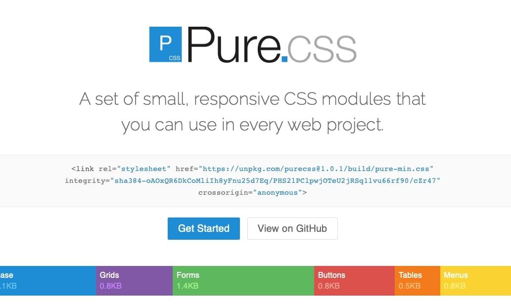 pure css homepage