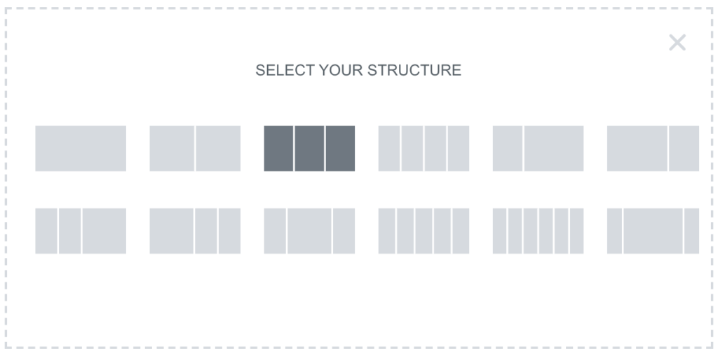 elementor structure selector with different options