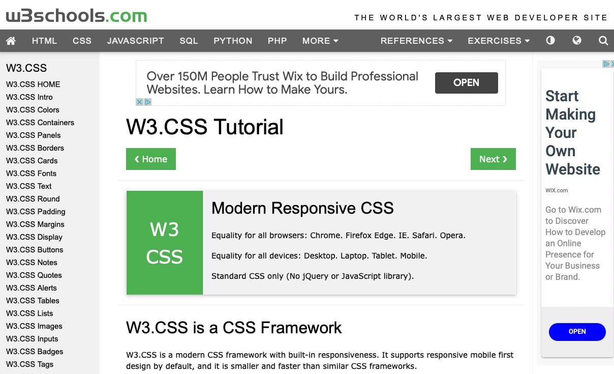 w3 css homepage