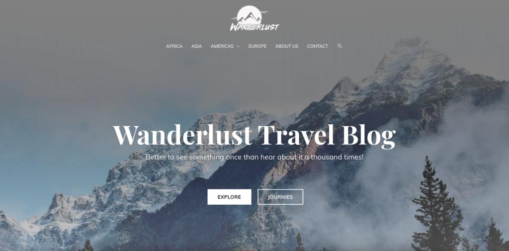 wanderlust travel blog astra starter site