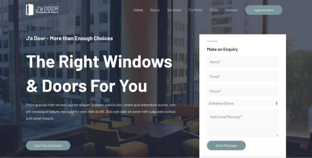 astra windows and doors services starter site
