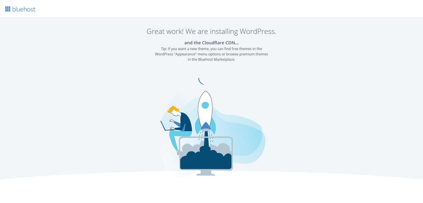 Screen when installing WordPress on Bluehost