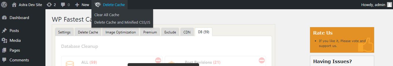 Easily clear WP Fastest Cache from the admin bar of the WordPress dashboard