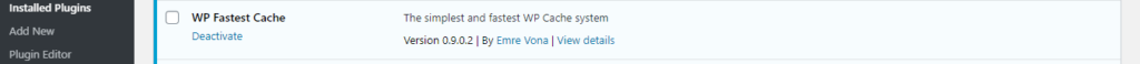 WP Fastest Cache installed on the plugins page from the dashboard