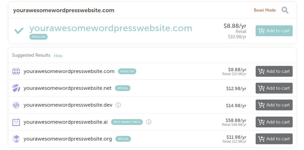 different price options for purchasing a domain named yourawesomewordpresssite.com