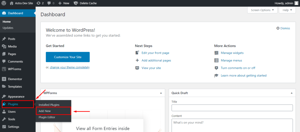 Add new plugin from the WordPress dashboard