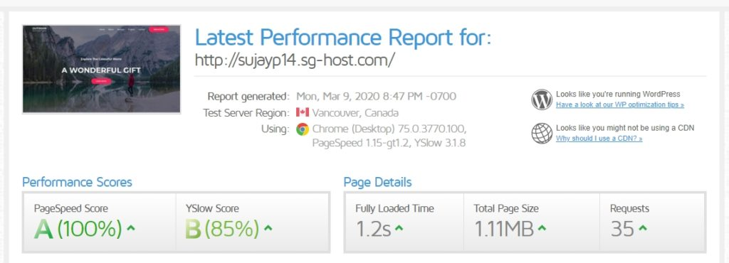 Speedtest results of Astra test page after WP Fastest Cache