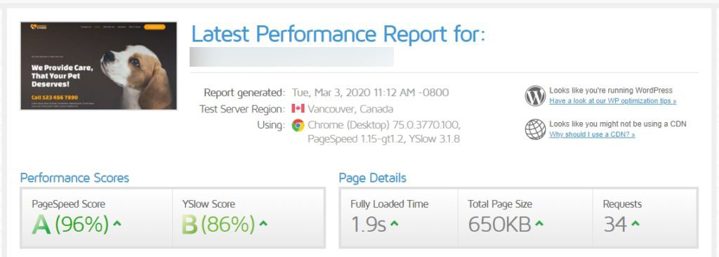 Speedtest results of Astra test page before WP Fastest Cache