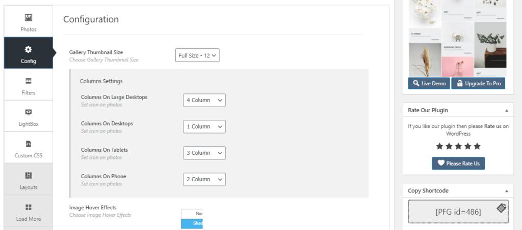 Portfolio Gallery settings page