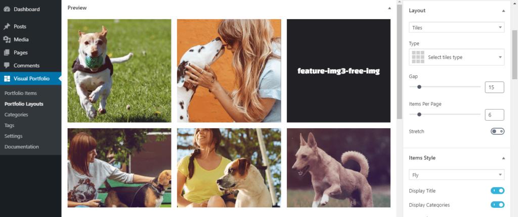 Visual Portfolio plugin settings