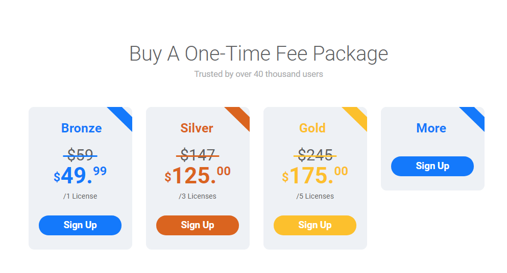 WP Fastest Cache pricing table from their website