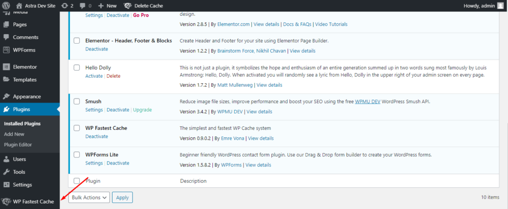 WP Fastest Cache settings location on the WordPress dashboard sidebar