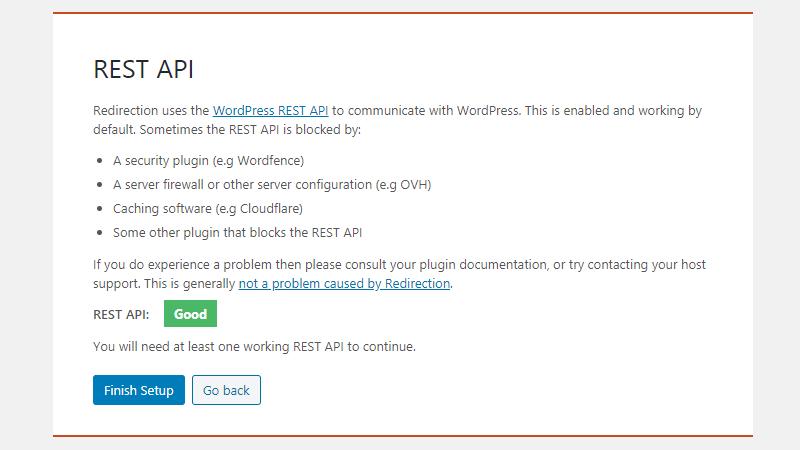 Redirection plugin REST API status