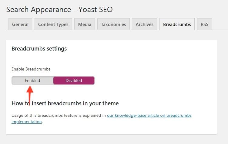 Breadcrumbs Setting Enable - Yoast SEO